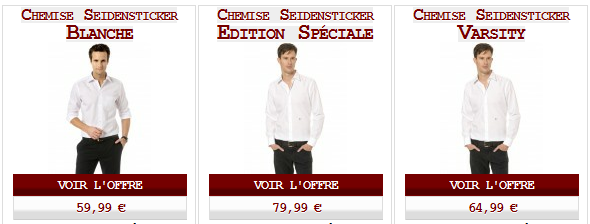 Les chemises Seidensticker blanches